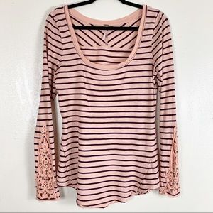 Free people long sleeve striped  top with lace
